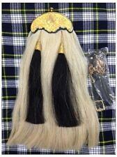 Long Horse Hair Sporran. White body-2 Black tassels, Gold plated cantle & Chain.