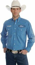 Wrangler Men  Ford Logo Blue Diamond Pattern Shirt