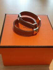 Genuine Hermes Brown/Gold Leather Double Wrap Bracelet