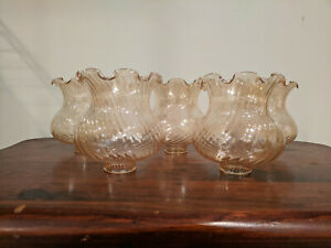 """Set of 5 Amber Glass Swirl Ceiling Fan Globe Light Shade Vanity 1.5"""" Fitter"""