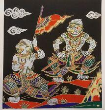 Thai Art Silk Paintings Handmade Hanuman Ramayana Poster Wall Blue Home Decor