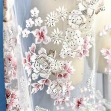 "51"" Wide Beaded Wedding Lace Fabric Floral Embroidery Corded Bridal Veils 1 Y"