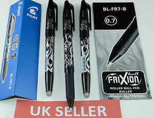 PILOT FRIXION ROLLER BALL ERASABLE PENS 0.7MM BL-FR7-B / BLACK & BLUE -UK seller