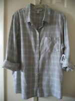 Must Have! Old Navy Lt Grey & White Plaid Cotton Flannel Shirt L XL XXL 1X 3X 4X