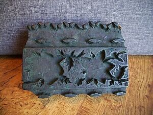 Antique Hand Carved Indian Wooden Fabric Printing Block (Leaf Patterned Border)