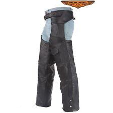 da uomo motociclisti moto pelle nera Chaps con un formato tascabile S