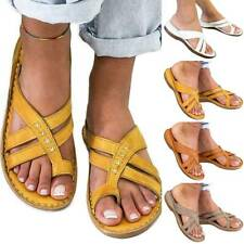 Women Toe Ring Flat Sandals Slider Ladies Summer Holiday Beach Casual Shoes Size