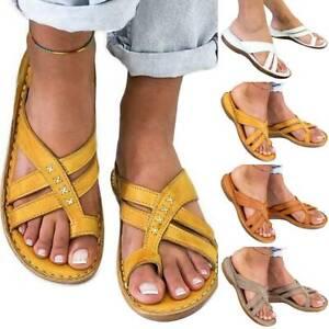 Women Flats Sandals Toe Post Flip Flops Sandles Casual Comfy Slippers Shoes Size