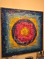 "Cubist ( Pointallism) Design of Sun / Oil On Canvas ""LARGE"""