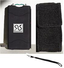 BLACK Hi-Volt Rechargeable Stun Gun Flashlight, Sharp Prongs+Holster+Disable Pin