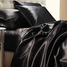 Black Satin Sheet Set QUEEN Size Soft Silk Feel Bedding Luxury 4pc Bed Linen New