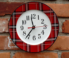 "Ciroa Tartan Plaid Fine Bone China 8 1/8"" Custom Made Plate Clock NEW"