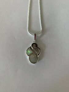 White Fire Opal Kunzite Silver Gems Pendant With the Chain-N12419