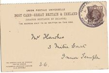 1883 H&B CP18c fineused QV 1d Brown solo PS hacia afuera postal especial 1d Post PMK
