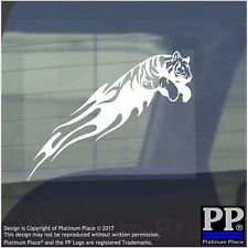 Tiger Flame-Vinyl Sticker-Car Window Graphic Decal Sign Animal,Paw,Jungle,Zoo