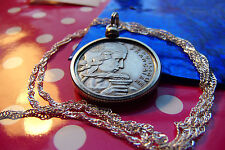 "Mid-Century French Maiden 100 Franc Pendant on a 30"" 925 Silver Wavy Chain"
