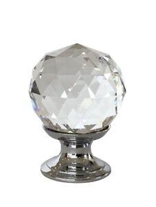Real Crystal Glass Diamond Clear Door Furniture Cupboard Cabinet Handles Knobs