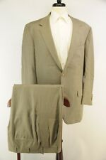Oxxford Super 100s Wool 2 Button Gray Light Brown Horn Buttons Men's Suit 44L 38