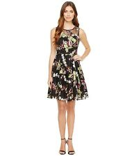 13d88571c4d Tahari ASL Black 4 Floral Dress Petite Mesh Flare Embroidered  198 Nordstrom  NWT