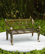 Miniature Dollhouse FAIRY GARDEN Furniture ~ Rustic Antiqued Tin Bench