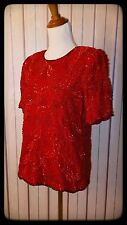 Red Sequined Glam Holiday Silk Top S