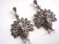 Peacock Marcasite Stud Earrings 925 Sterling Silver Dangle Corona Sun Jewelry