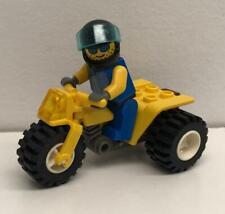 Lego Yellow ATV Racer Guy Minifig Lot: figure bike tricycle city motorcycle