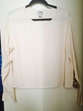 Eileen Fisher Womens Shirt Oversized Large 100% Silk Ivory Career Free Shipping