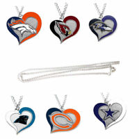 swirl heart necklace charm NFL PICK YOUR TEAM