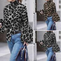 Belle Femme Chemise slim Loisir Loose léopard Manche Lanterne à Longue Haut Plus