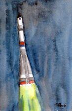 ORIGINAL AQUARELL - Start einer Sojus-2 Rakete.