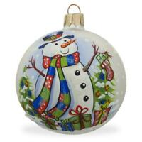 Snowman, Christmas Tree and Gifts Glass Ball Ornament 3.25 Inches
