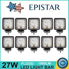 10X 27W LED Work Light Flood Off Road Truck Boat SUV Jeep Square Tractor 5D Lens