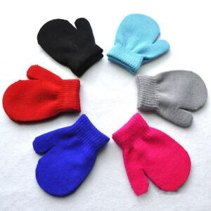 New Solid Soft Winter Warm Mitten Knitting Gloves For Age 2-5 Children Kids Baby