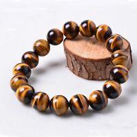 Men Hip Hop Tiger's Eye Stone Gems Beads Elastic Stretch Wrist Bracelet Jewelry