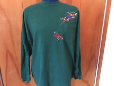 The Disney Store Long Sleeve Men's Pocket T-Shirt XL Goofy Skiing Embroidered