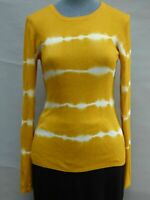 Michael Kors Yellow Mustard Tie Dye Ribbed Blouse Sweater Cotton Blend Size XS