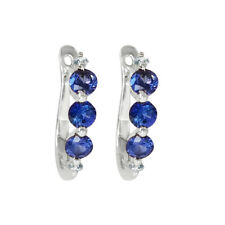 14k White Gold Genuine Tanzanite & Diamond Earrings