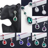 Elegant Women Crystal Vintage Drop Dangle Rhinestone Ear Stud Earrings Jewelry