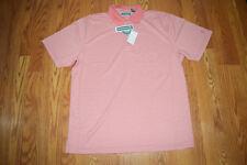 NWT Mens CUBAVERA Mauveglow Pink White Striped Polo Shirt Size L Large