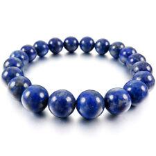 10mm Cuff Link Wrist Blue Lapis Lazuli Stone Buddha Prayer Beads Woman Man I5x1