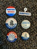 LOT President LBJ Lyndon Johnson Humphrey Political Campaign Pinback Button Pres