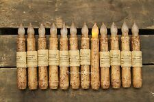 """12 Primitive Country Burnt Ivory 6.5"""" Battery Operated TIMER Taper Candles"""