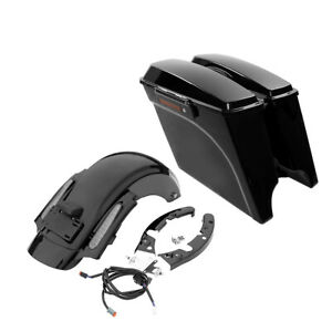 """Rear Fender 5"""" Stretched SaddleBag w/ Latches Fit For Harley Electra Glide 09-13"""