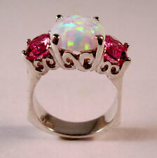 STERLING SILVER  OPAL  PINK TOURMALINE RING SIZE 8.5