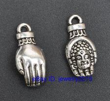40pcs Tibetan Silver charms Buddha hand pendants pendant G3424