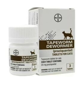 Bayer Tapeworm Dewormer Cats (Praziquantel Tablets) 3-Count, New - Exp 10/2024