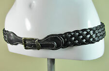 Vintage black plaited weave hippie boho chic leather fashion belt M/L R14553A