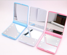 Mini Makeup Mirror 8 LED Lights Portable Cosmetic Folding Compact Pocket Mirror