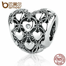 Bamoer European Authentic S925 Sterling Silver LOVE Charm with Clear CZ Jewellry